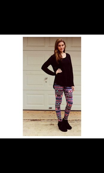oversized sweater shoes aztec leggings