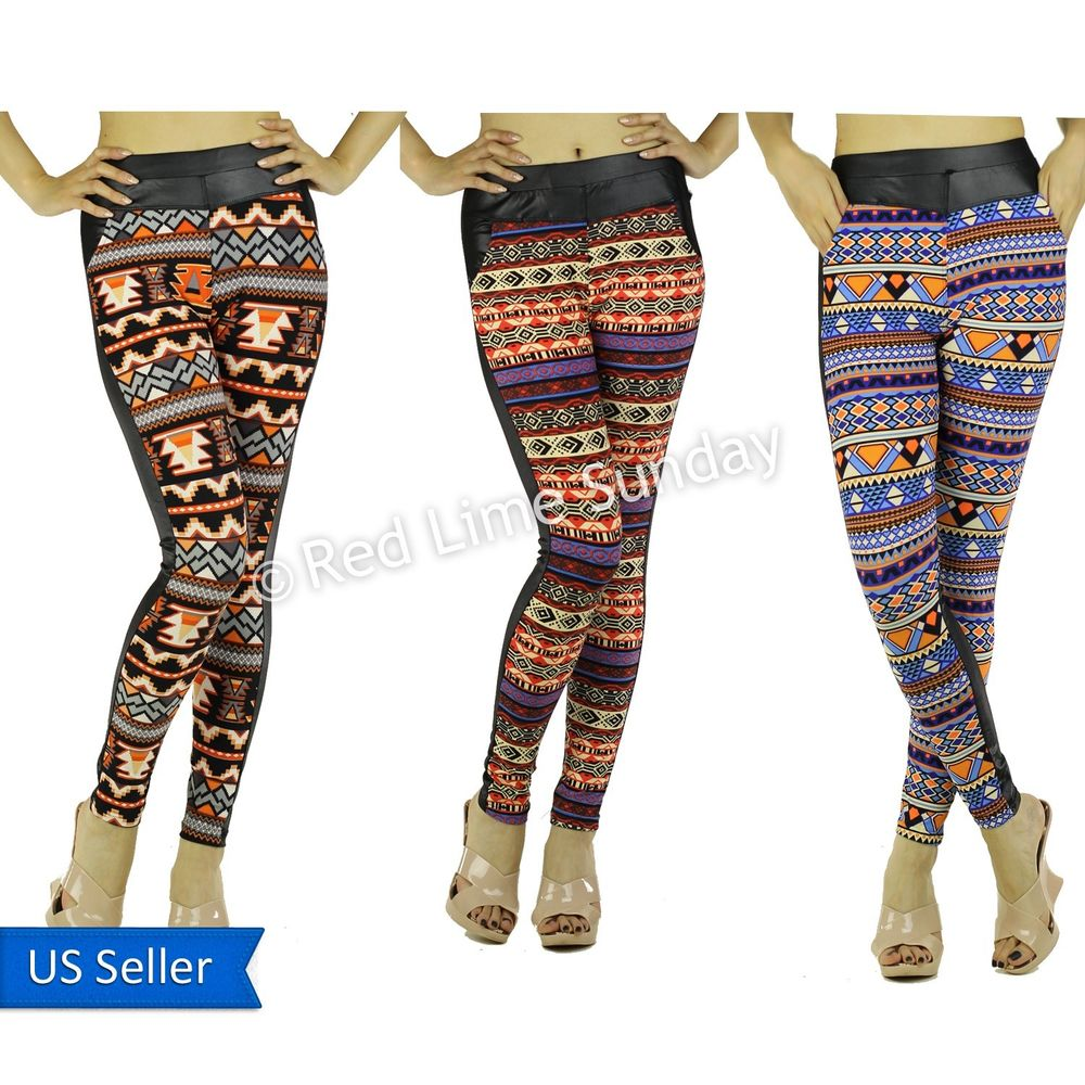 New black faux leather aztec tribal color casual leggings tights pants pockets
