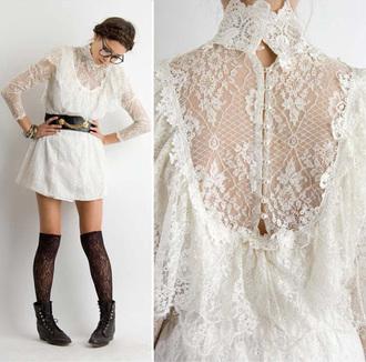 dress vintage lace white black belt gold chain back button up long sleeves mini dress