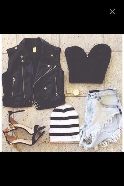 jacket vest leather jacket stripes High waisted shorts denim crop tops bralette heels beanie gold gold watch leather leather vest shorts top