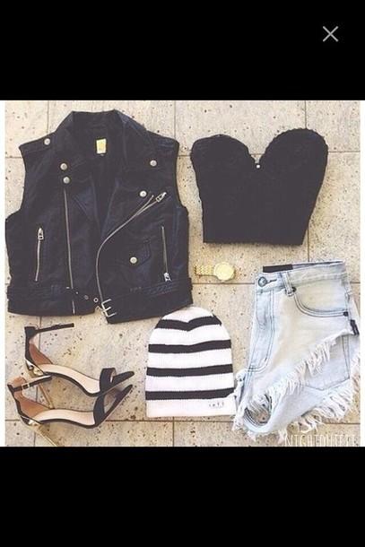 jacket vest stripes High waisted shorts denim crop tops bralette heels beanie gold gold watch shorts top