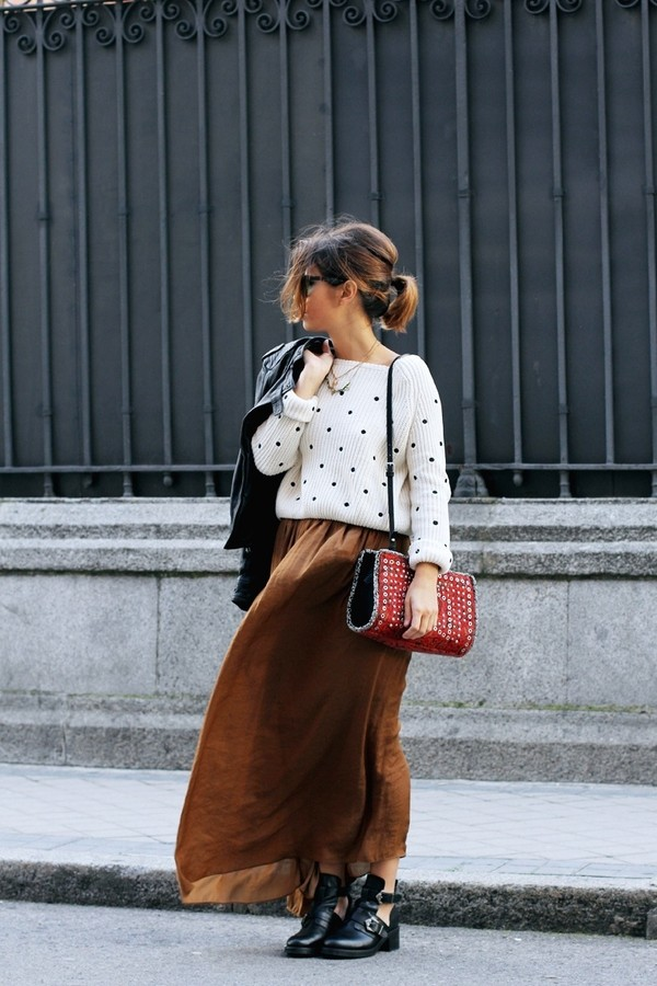 skirt outfit maxi maxi skirt sweater polka dots shoes
