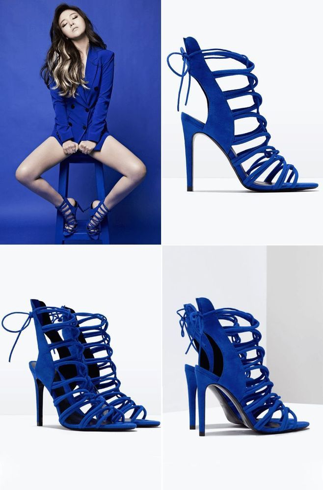 ZARA ROYAL BLUE HIGH HEEL LACE UP STRAPPY SANDALS ALL SIZES AVAILABLE