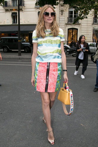skirt sandals olivia palermo sequins summer outfits top bag purse sunglasses zip-up skirt mini skirt printed skirt printed top yellow bag gold sandals sandal heels high heel sandals date outfit