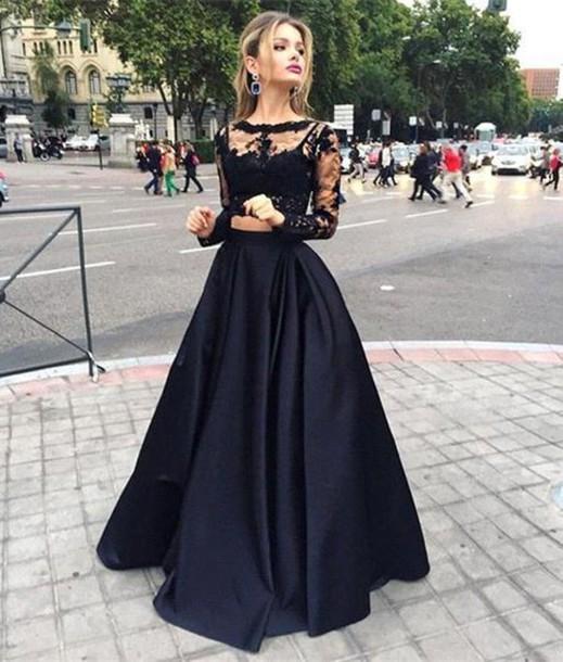 3218ae9651 Aliexpress.com  Compre Vestido de festa preto 2016 de duas peças vestidos  com Lace completa mangas ...