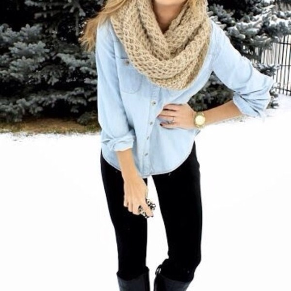 shirt scarf jewels blouse pants outfit leggings denim top scraf winter outfits