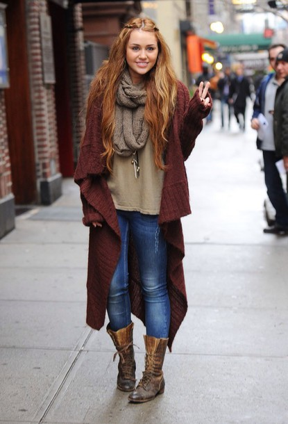 cardigan miley cyrus boots jacket denim jeans shoes coat oversized cardigan burgundy knitted cardigan sweater fall outfits streetstyle fall sweater winter outfits trendy fancy pretty girly olive green shirt olive green scarf knit knitted sweater infinity scarf olive green