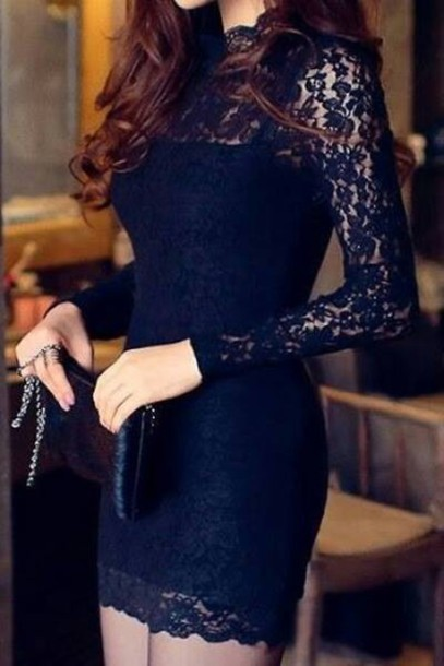 dress bleu marine soir?e dentelle courte fête black dress lace dress fashion