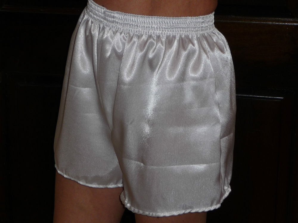 White poly satin boxer shorts large
