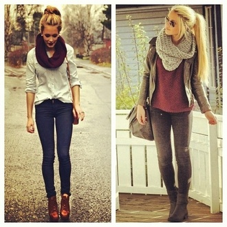 t-shirt top scarf lipstick jeans boots jacket shoes coat tank top knitted scarf