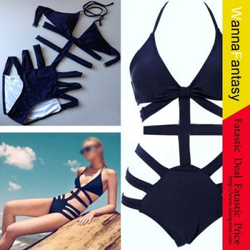 Sexy Strappy Swimsuit Swimwear Bathing Monokini Push Up Padded Bikini-in Bikinis Set from Apparel & Accessories on Aliexpress.com