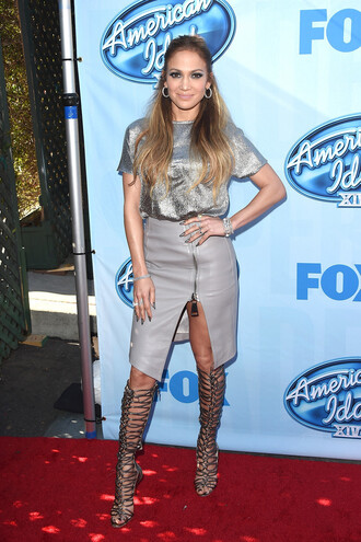 skirt leather skirt jennifer lopez top sequin shirt silver gladiators high heels shoes