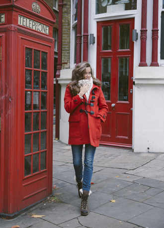 shoes tumblr boots brown boots winter boots winter outfits coat duffle coat red coat denim jeans blue jeans