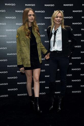 jacket blouse kate moss cara delevingne model fashion fashion week black dress dress ankle boots shoes