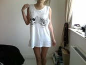 shirt,muscle tee,white,skull,bones,tank top,clothes,top,tumblr,grunge,t-shirt,singlet