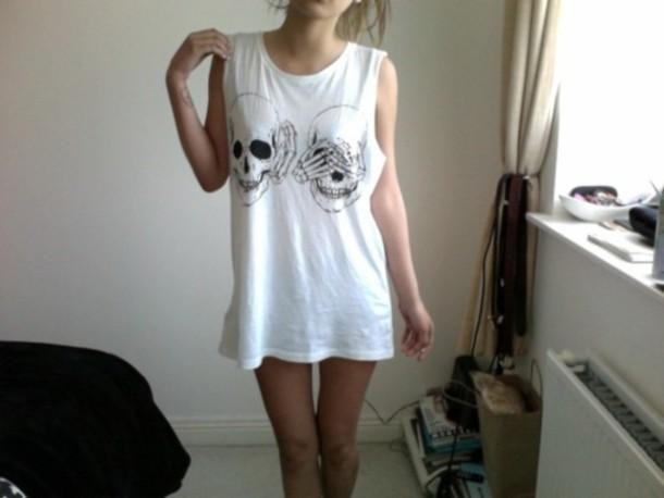 shirt muscle tee white skull bones skull tank top clothes top tumblr grunge t-shirt singlet