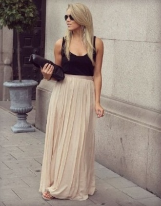 skirt maxi skirt long skirt black nude pleated skirt summer chiffon chiffon skirt summer skirt maxi dress pleated