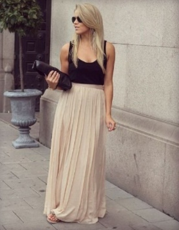 skirt maxi skirt long skirt black nude pleated skirt summer chiffon chiffon skirt summer skirt maxi dress pleated