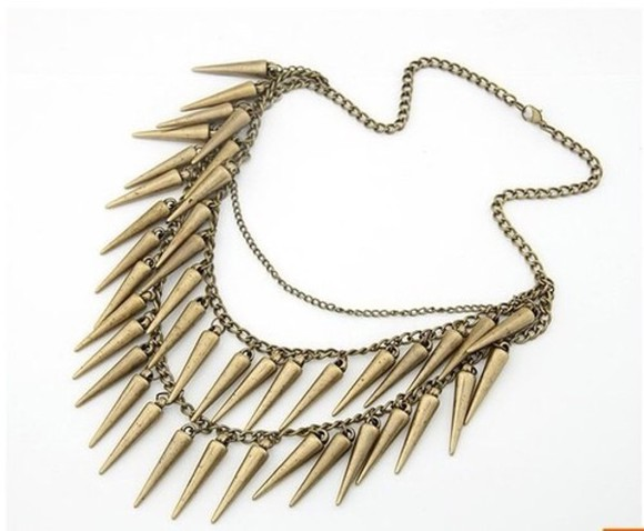bullet jewels necklace gold chain big grunge hipster long statement indie boho