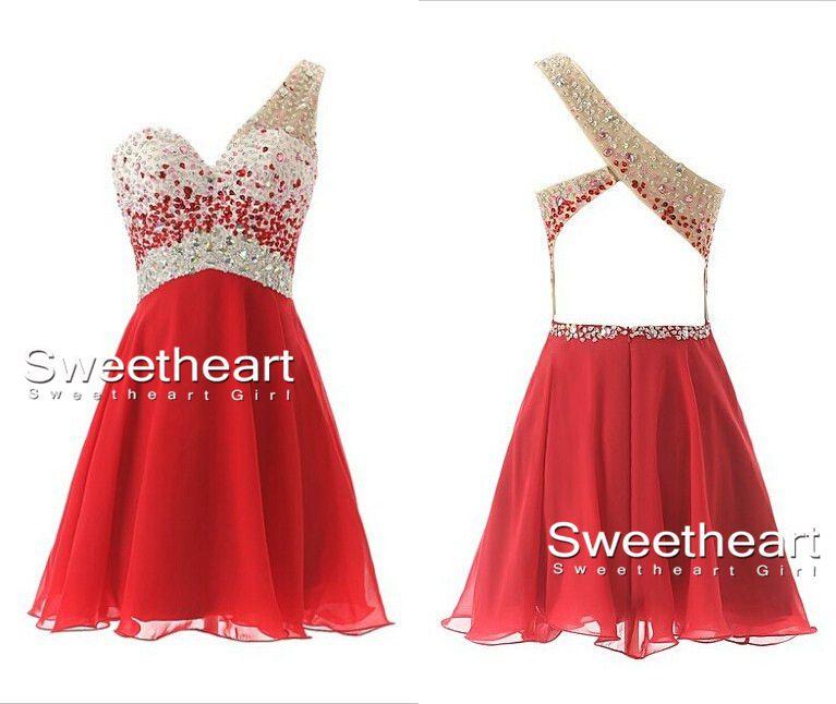 Line chiffon one shoulder short prom dresses, homecoming dresses