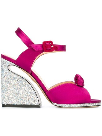 women sandals leather silk purple pink shoes