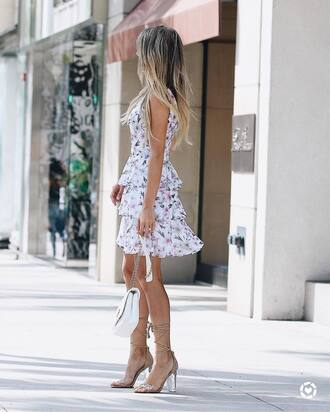 dress tumblr floral floral dress mini dress ruffle ruffle dress sandals sandal heels high heel sandals sleeveless sleeveless dress shoes bag