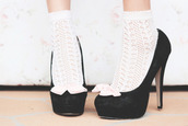 shoes,socks and heels,high heels,socks transparent cute white