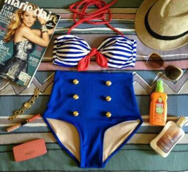 Sailor  retro high waist swimsuit blue & by southbeachswimwear