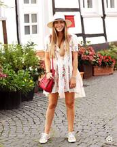 dress,tumblr,embroidered,embroidered dress,mini dress,white dress,summer outfits,summer dress,hat,bag,red bag,sneakers,low top sneakers,shoes