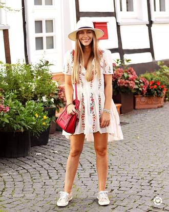 dress tumblr embroidered embroidered dress mini dress white dress summer outfits summer dress hat bag red bag sneakers low top sneakers shoes