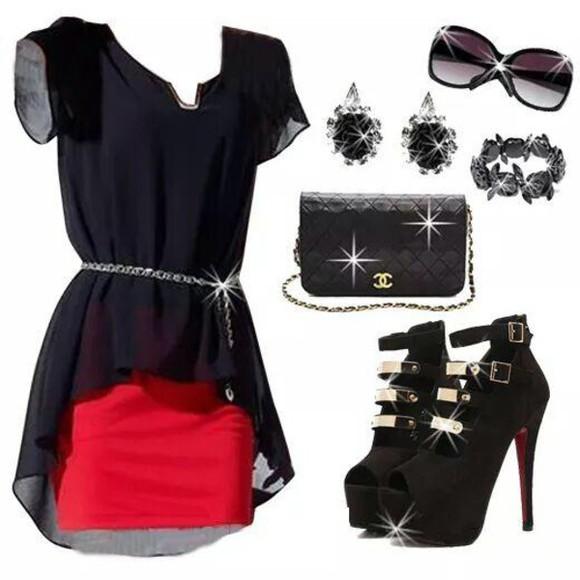 red black blouse skirt Belt