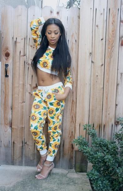 pants crop tops floral white yellow nature long sleeves sunflower harem harem pants long sleeves long sleeve crop top