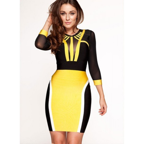 Dress Bandage Dress Bodycon Dress Celebrity Style Yellow Dress