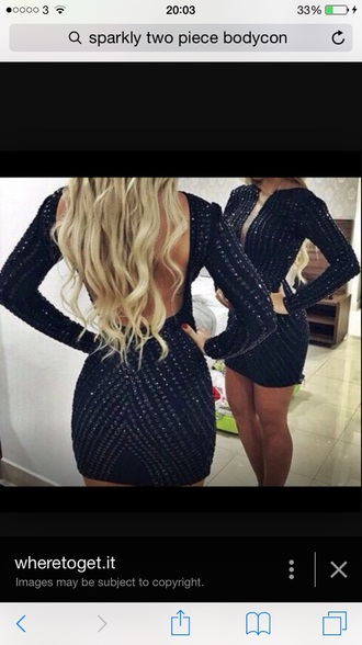 dress navy dress sparkles sparkly dress long sleeve dress navy blue dress tight dress bodycon dress sequenced dress sequence mini dresses mini dress blonde girl curly hair