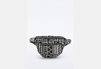 bag black and white print belt bag african print tribal pattern