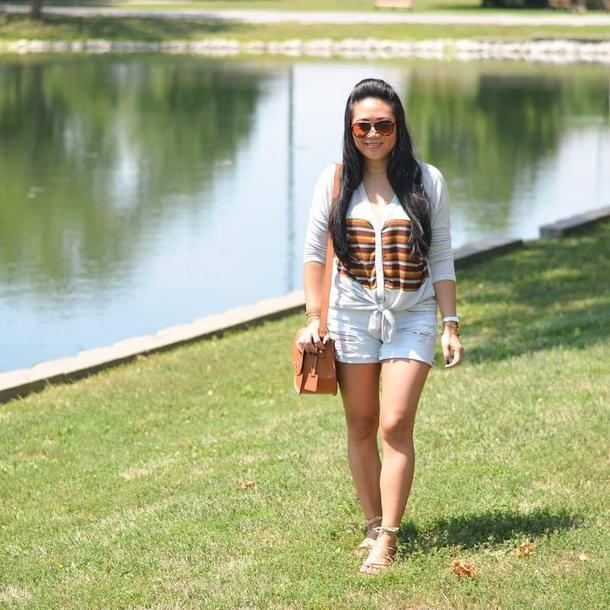 morepiecesofme blogger sunglasses bag top shorts shoes
