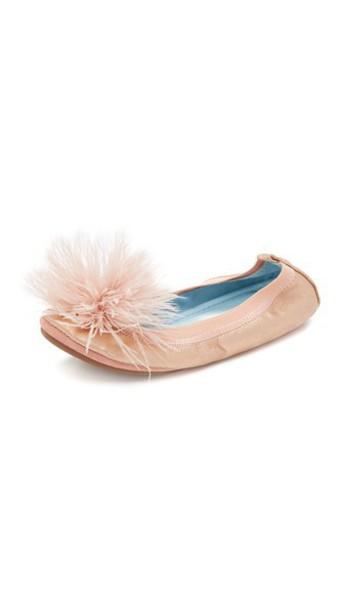 Yosi Samra rose gold rose flats gold blush shoes