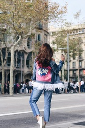 jacket,tumblr,denim jacket,blue jeans,fringes,jeans,denim,patchwork,blue jacket,sneakers,white sneakers