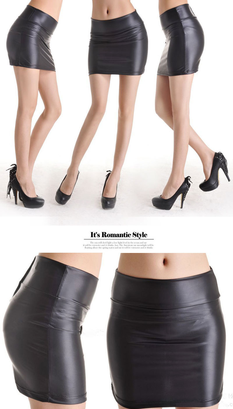 Women Ladies Faux Leather Bodycon High Waisted Pencil Mini Skirt ...