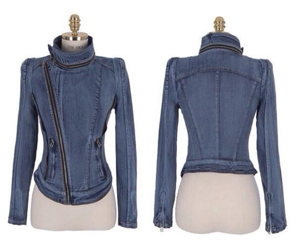 Hot cute design zipper cowboy jacket short style
