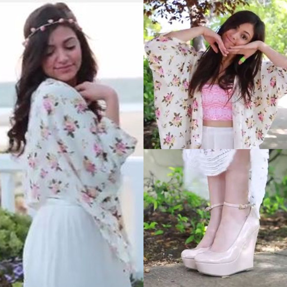 girly shoes jacket bethany mota kimono hair accessories blouse ctoptop