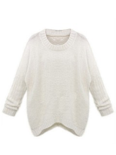 Beige cut out back fluffy sweater