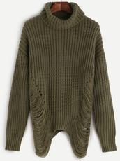 sweater,girl,girly,girly wishlist,olive green,khaki,ripped,turtleneck,turtleneck sweater,knitwear,knitted sweater,fall sweater,fall colors