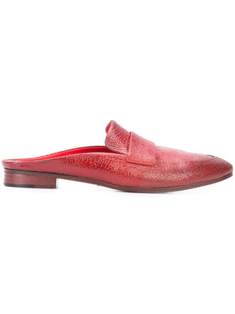 women mules leather red shoes