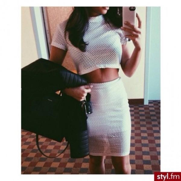 dress two-piece white skirt top mesh