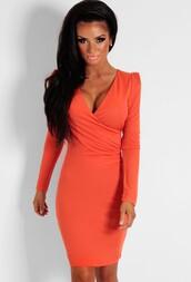 burnt orange,plunge neckline,wrap dress