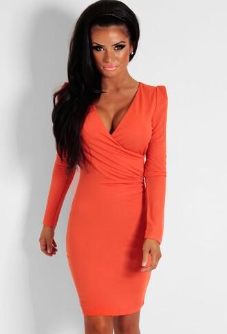 burnt orange plunge neckline wrap dress