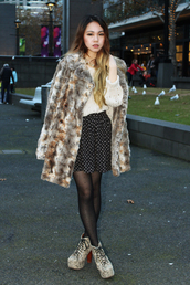 chloe ting,coat,jewels,sweater,skirt,shoes