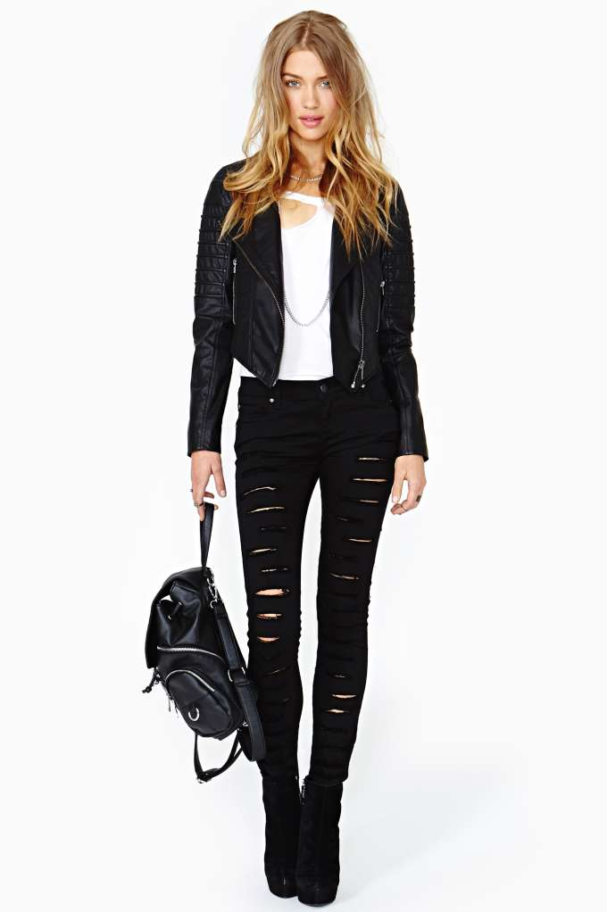 Nasty Gal Quilted Leather Moto Jacket At Nasty Gal
