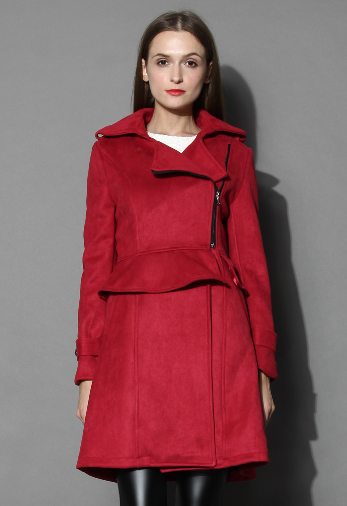 Burgundy Paneled Peplum Faux Suede Coat - Retro, Indie and Unique Fashion